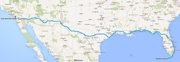 Auf dieser Route habe ich die USA von der Ost- zur Westküste durchquert.