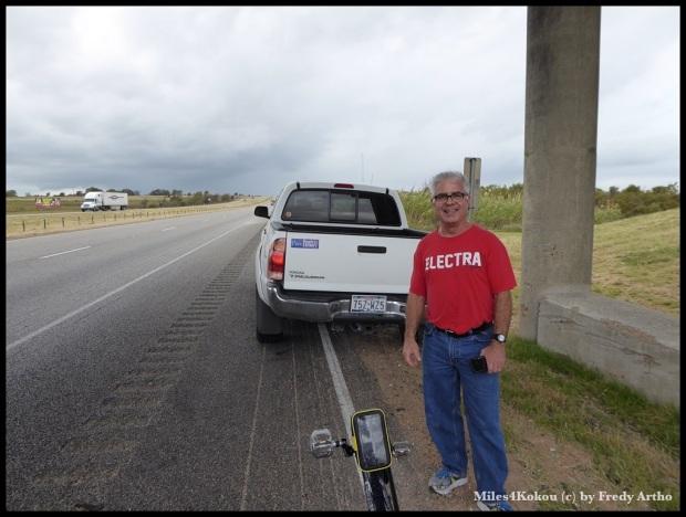 John, der mir auf der Autobahn von seinen Radreisen erzählte.