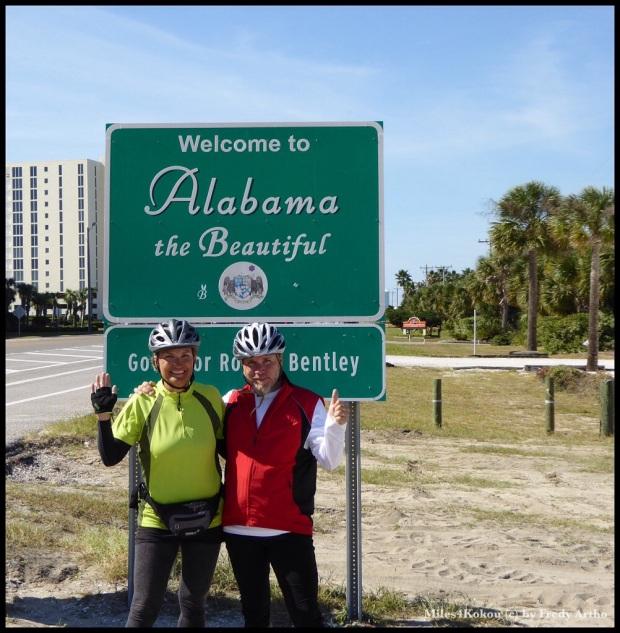 Nach 16 km Florida haben wir die erste Staatengrenze verdient!