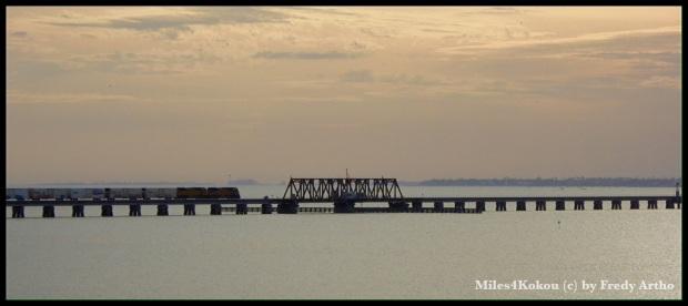 Parallel dazu verläuft die Eisenbahnbrücke und für ein Foto haben sie sogar einen Zug darüber fahrenlassen.