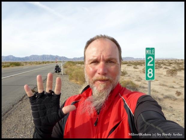 Kilometer 5'000 ist geschafft und noch 28 Meilen bis zur Grenze von Kalifornien.